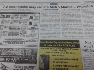 Earthquake report in The Philippine Star